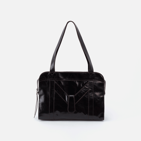 Motif Black Leather Tote Bag
