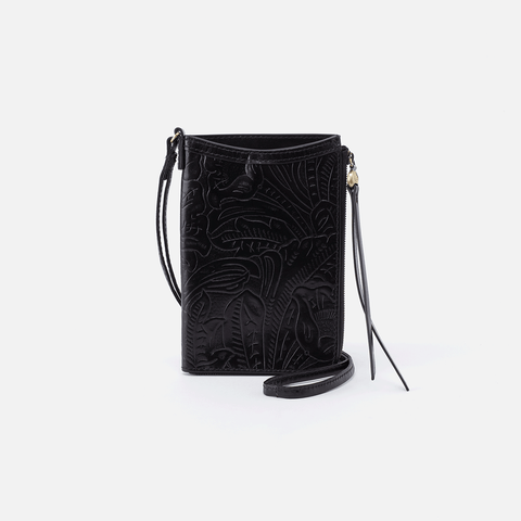 Moxie Embossed Black Leather Small Crossbody