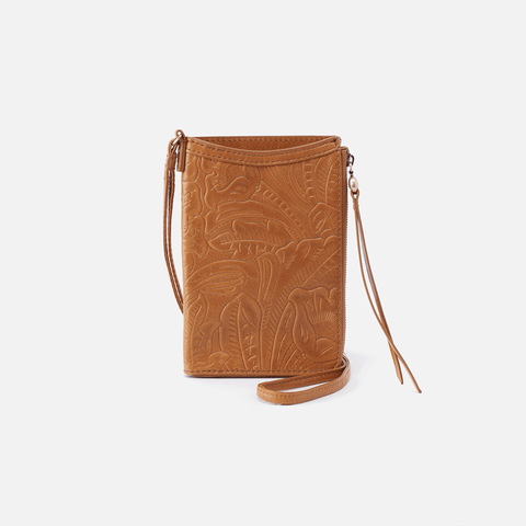 Moxie Embossed Cognac Brown Leather Small Crossbody