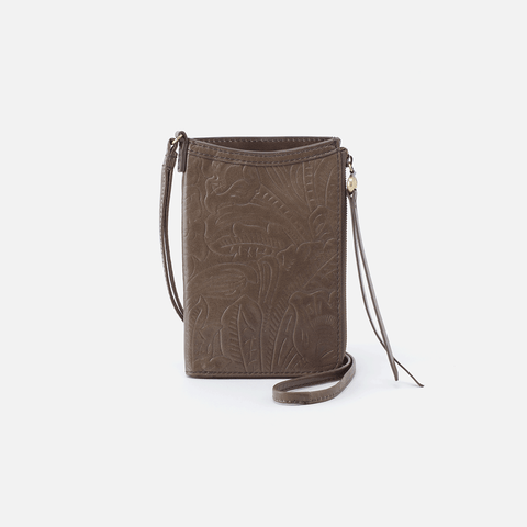 Moxie Embossed Grey Leather Small Crossbody