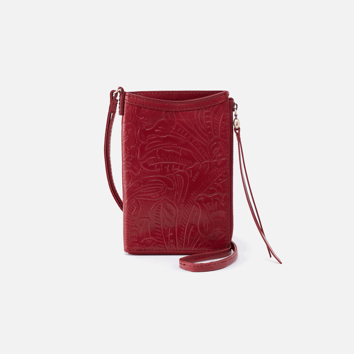 Moxie Embossed Red Leather Small Crossbody
