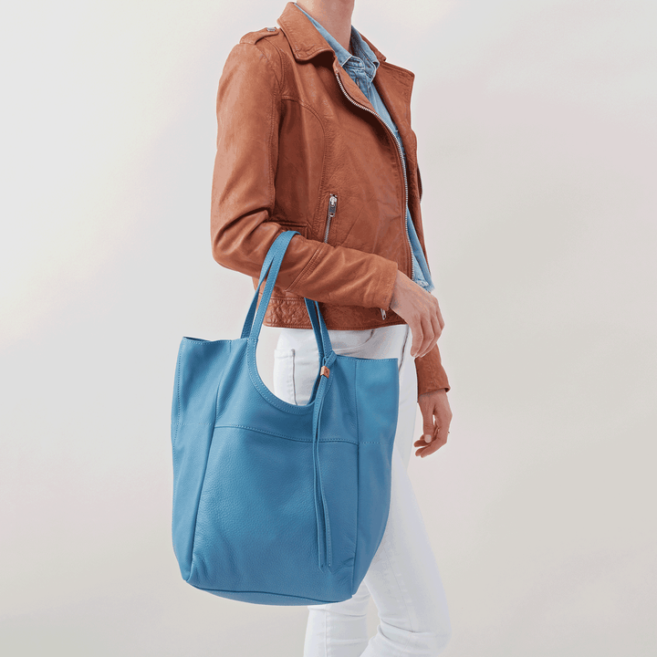Native Blue Leather Tote Bag