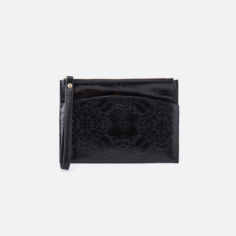 Noa Embossed Black Leather Clutch