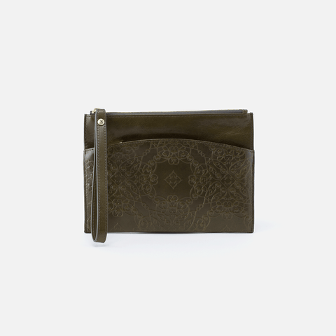 Noa Embossed Green Leather Clutch