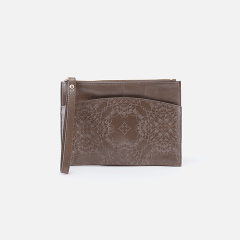 Noa Embossed Grey Leather Clutch