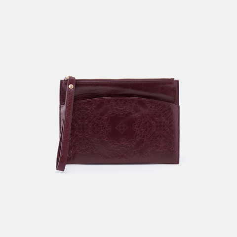 Noa Embossed Purple Leather Clutch