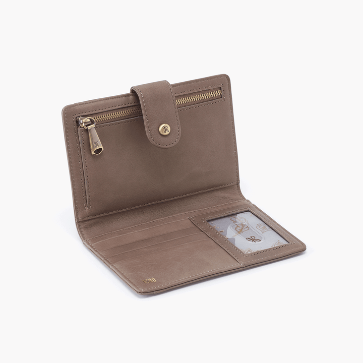 Pax Grey Taupe Leather Passport Wallet