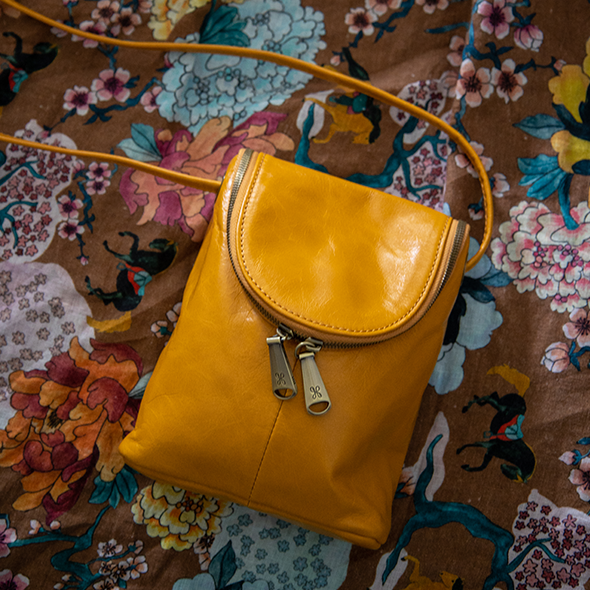 Mustard Fern Crossbody  Hobo
