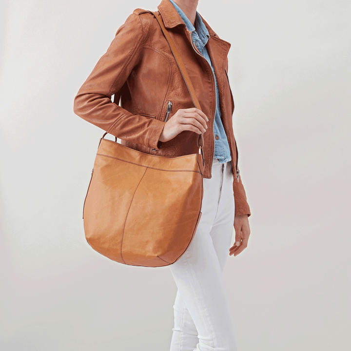 Port Cognac Brown Leather Hobo Style