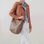 Port Grey Taupe Leather Hobo Style