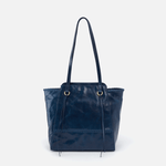 Praise Blue Leather Tote Bag