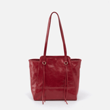Praise Red Leather Tote Bag