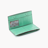 Rail Light Green Leather Large Wallet