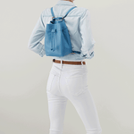 Ramble Dusty Blue Leather Backpack