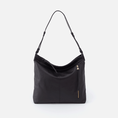 Realm Black Leather Hobo Shoulder Bag