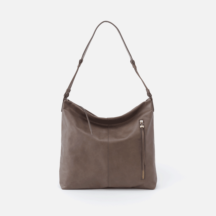 Realm Grey Leather Hobo Shoulder Bag