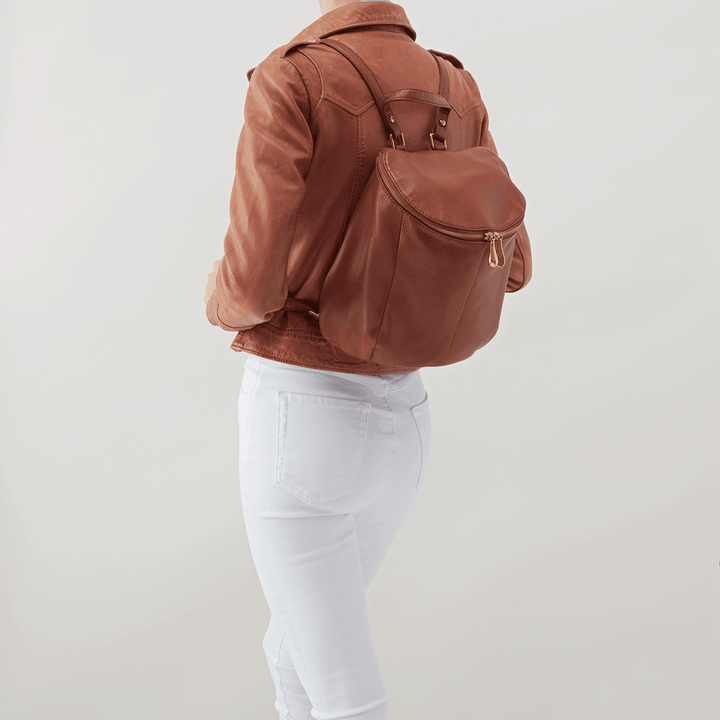 River Brown Leather Backpack Purse