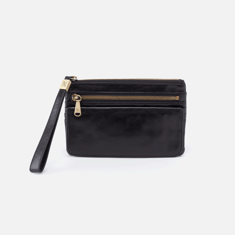 Roam Black Leather Clutch-Wristlet