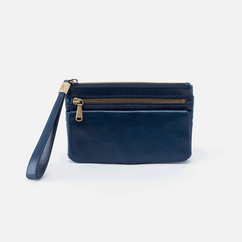 Roam Blue Leather Clutch-Wristlet