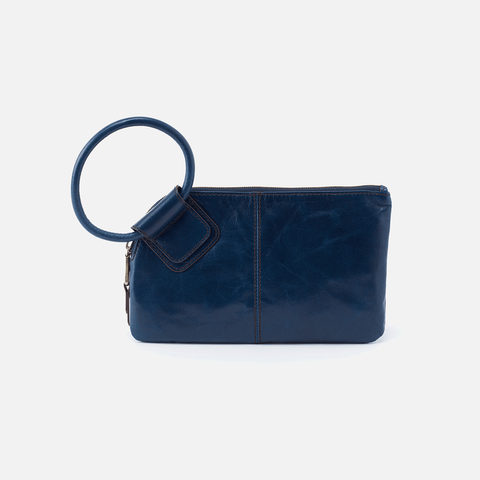 Sable Blue Leather Clutch-Wristlet