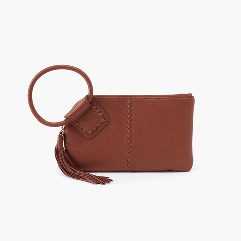 Sable Brown Leather Clutch Wristlet