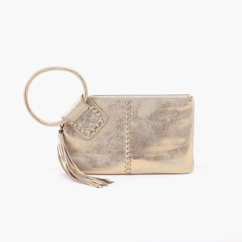 Sable Gold Leather Clutch Wristlet