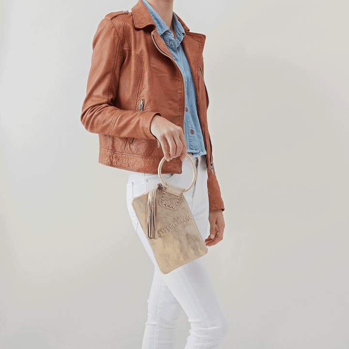 Distressed Gold Sable Wristlet  Hobo