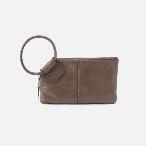Sable Grey Leather Clutch-Wristlet
