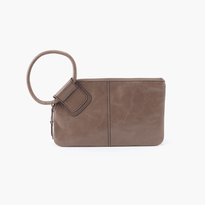 Sable Grey Taupe Leather Clutch Wristlet
