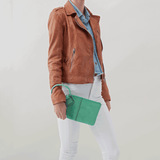 Sable Light Green Leather Clutch Wristlet