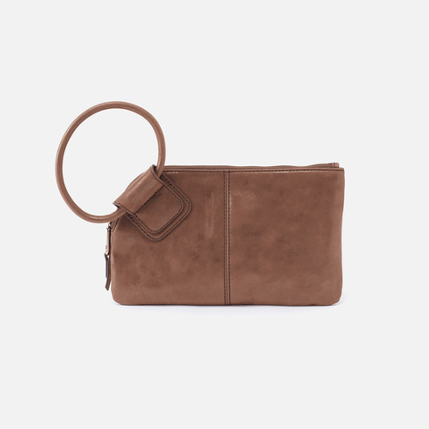 Sable Metallic Brown Leather Clutch-Wristlet