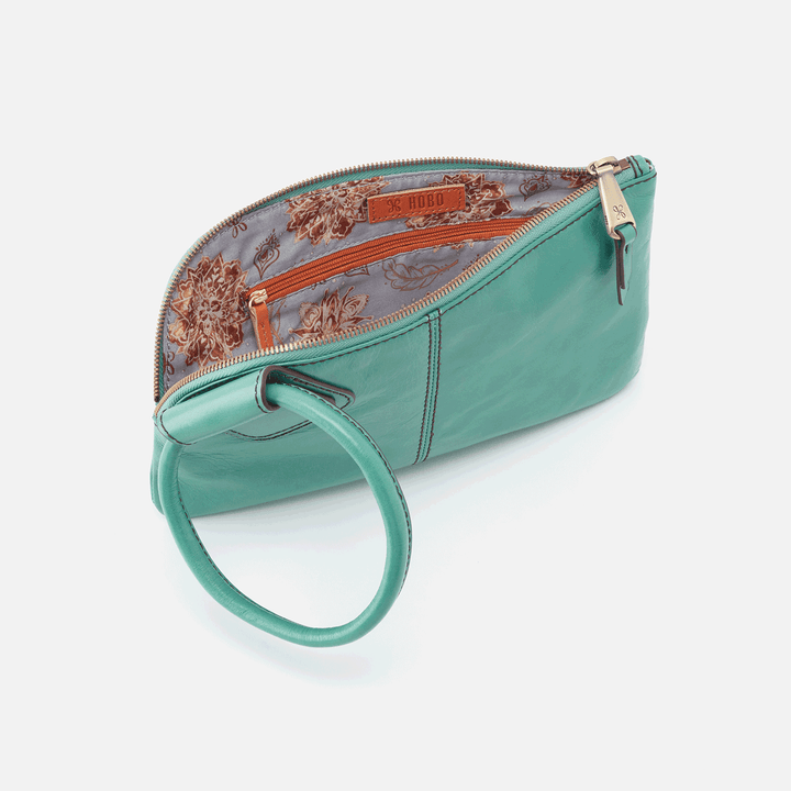 Sable Seafoam Leather Wristlet