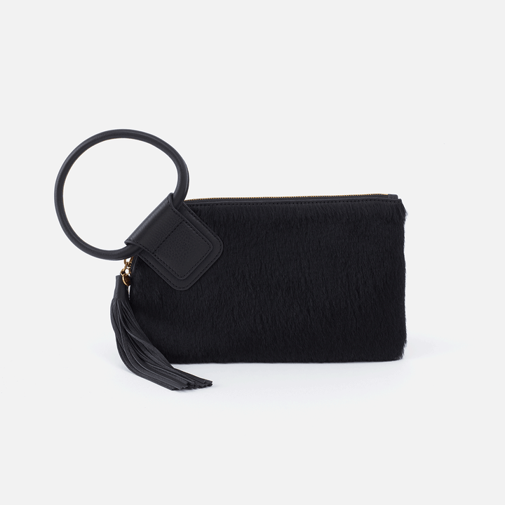 Sable Black Leather Wristlet Clutch