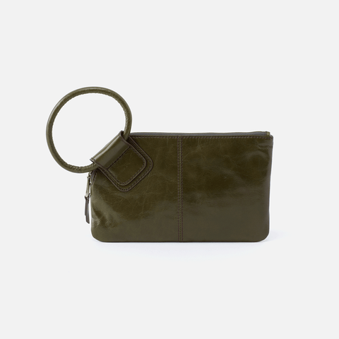 Sable Green Leather Wristlet Clutch
