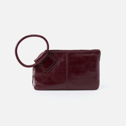 Sable Purple Leather Wristlet Clutch
