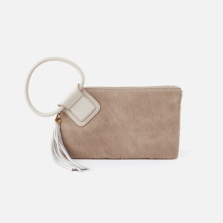 Sable White Leather Wristlet Clutch