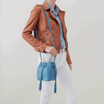 Sander Blue Leather Small Crossbody