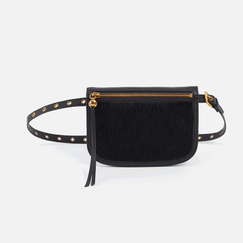 Saunter Black Leather Belt Bag