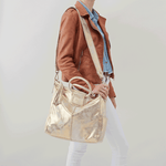 Sheila Gold Leather Crossbody Shoulder Bag