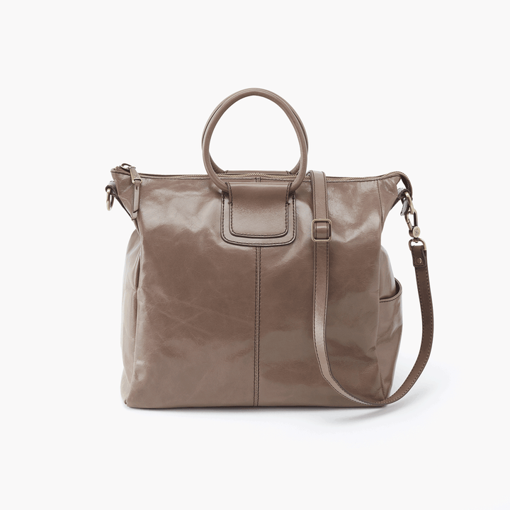 Sheila Grey Taupe Leather Crossbody Shoulder Bag