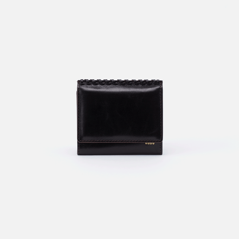 Stitch Black Leather Small Wallet