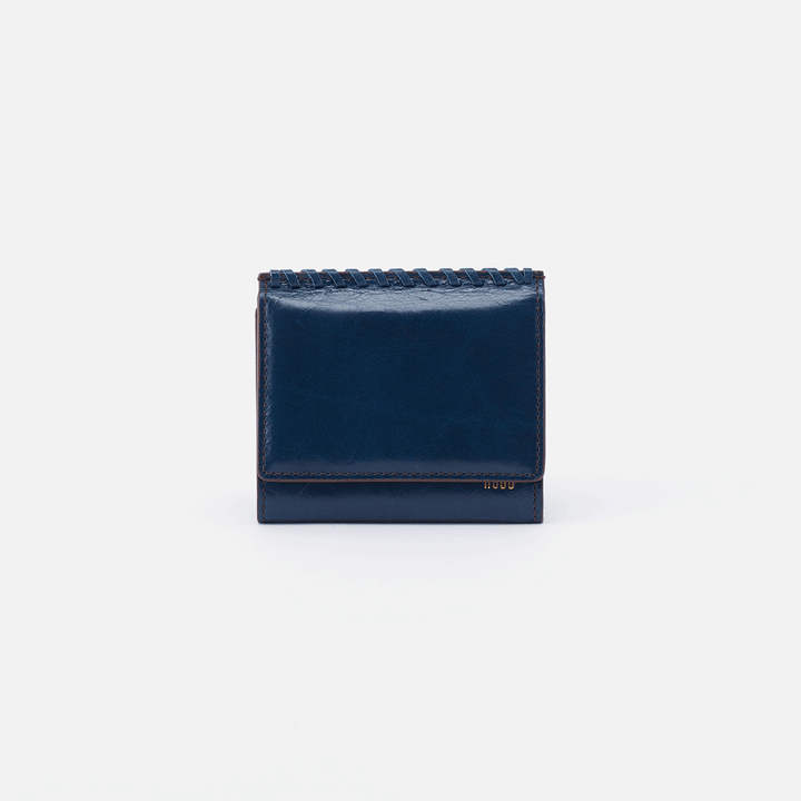 Stitch Blue Leather Small Wallet