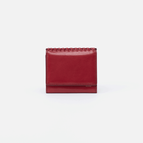 Stitch Red Leather Small Wallet