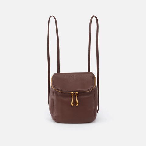 Stream Brown Leather Convertible Crossbody Backpack