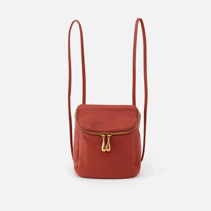 Stream Sienna Red Leather Convertible Crossbody Backpack
