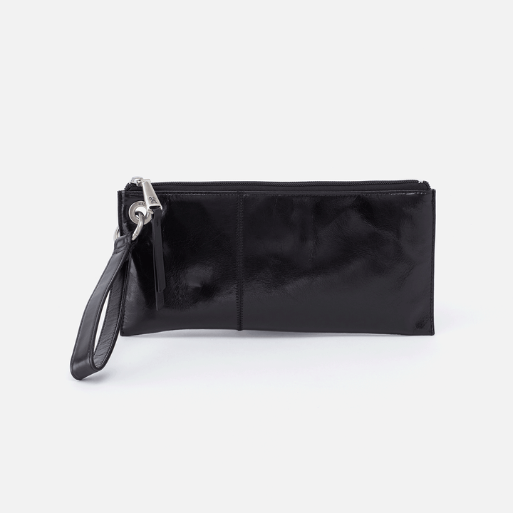 Vida Black Leather Clutch-Wristlet