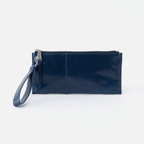 Vida Blue Leather Clutch-Wristlet