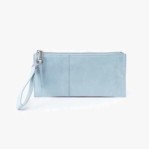 Vida Blue Leather Clutch Wristlet