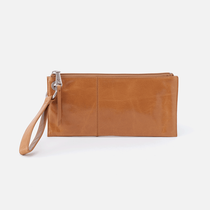 Vida Cognac Brown Leather Clutch-Wristlet