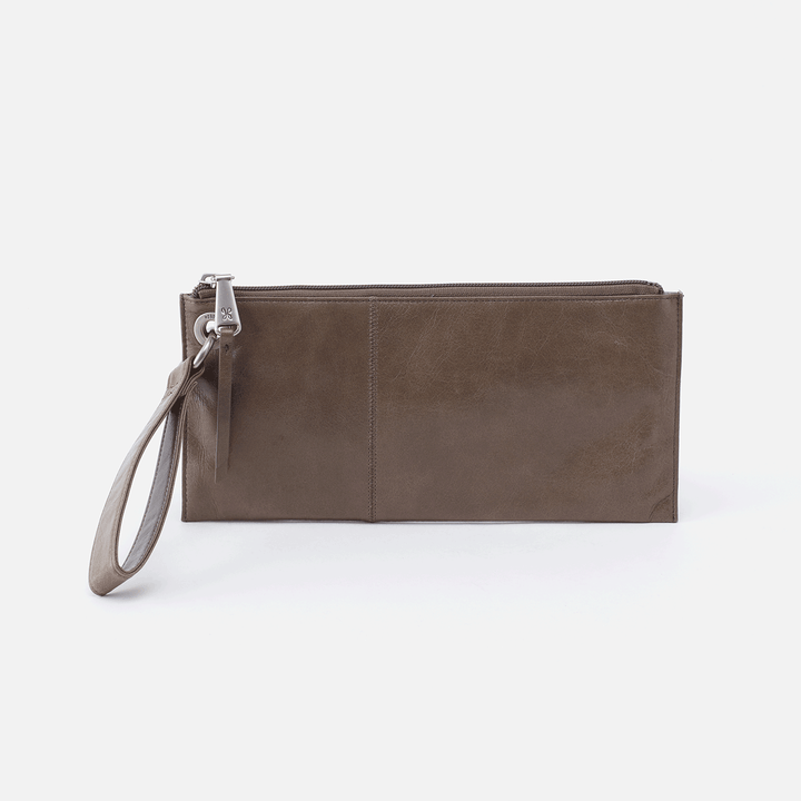 Vida Grey Leather Clutch-Wristlet